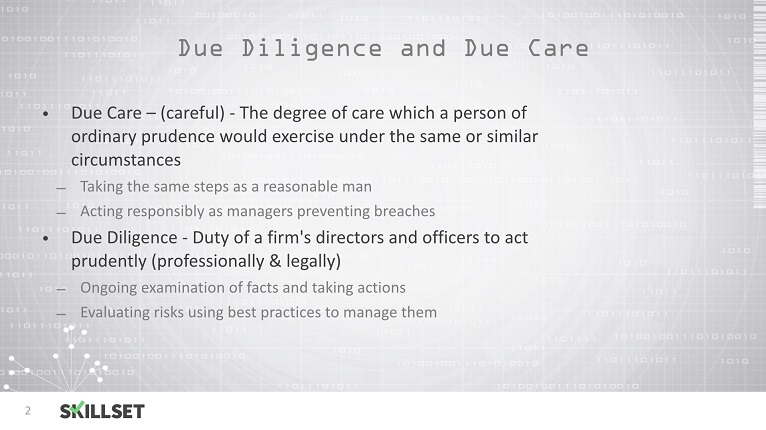 Due Diligience and Due Care