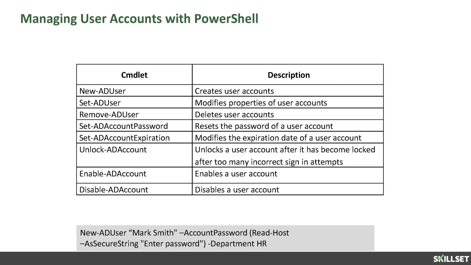 MCSA 2016-Using Windows PowerShell to manage AD Accounts