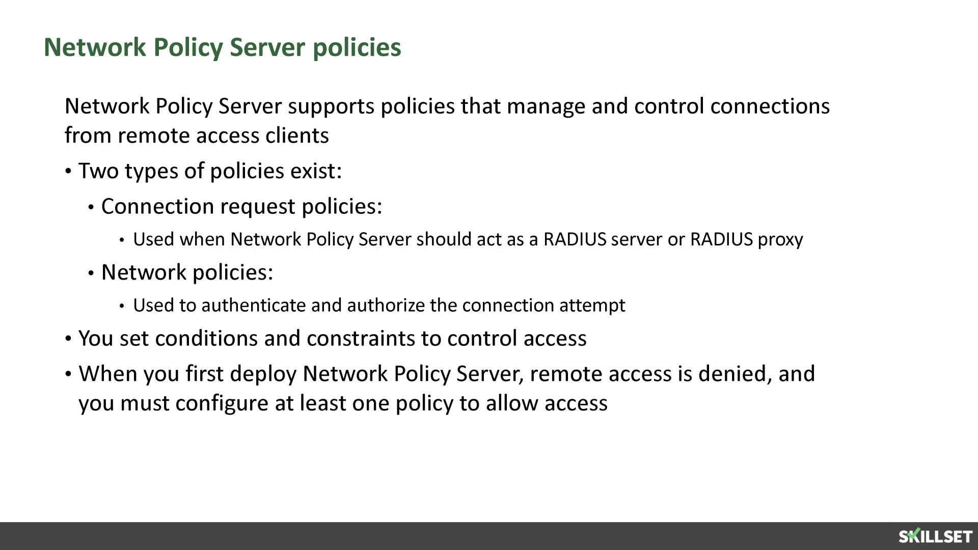 To deploy NPS as a RADIUS server or a RADIUS proxy, you must ...