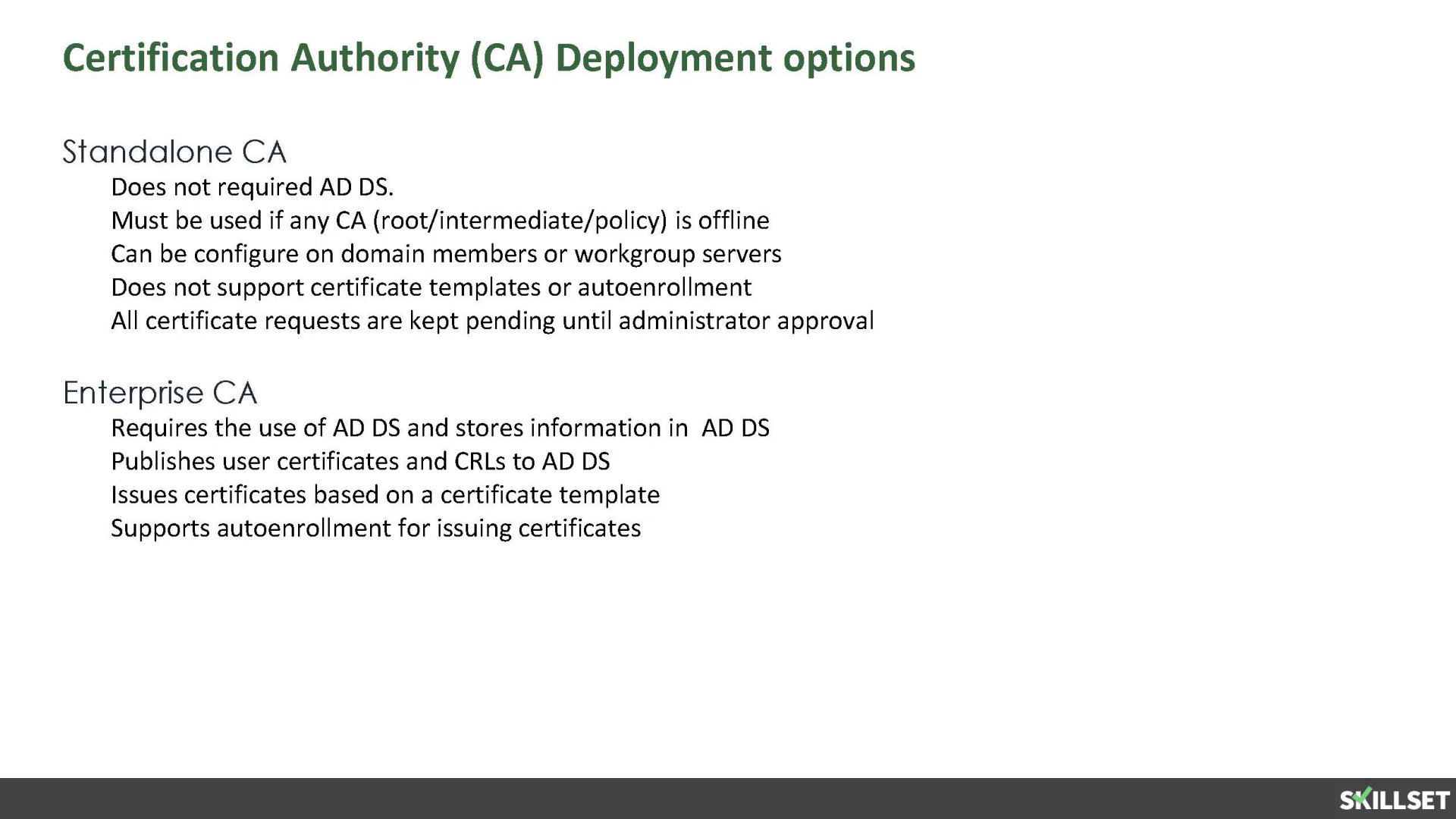 Enterprise Cas Do Not Use Certificate Templates Skillset