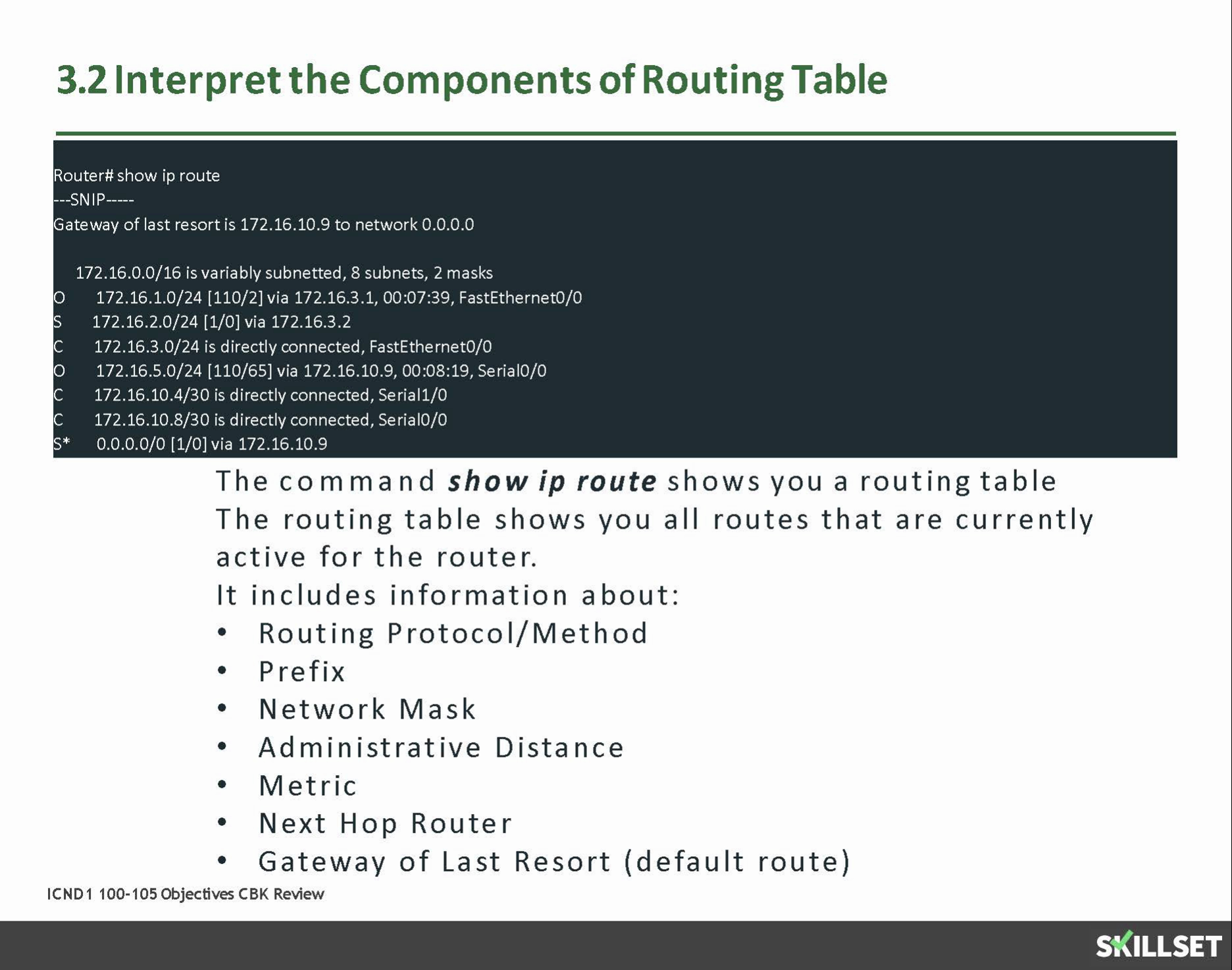 3.2 Interpret the components of routing table