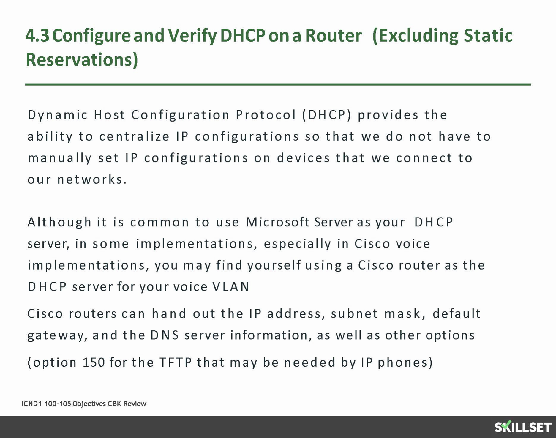 4.3 Configuring DHCP