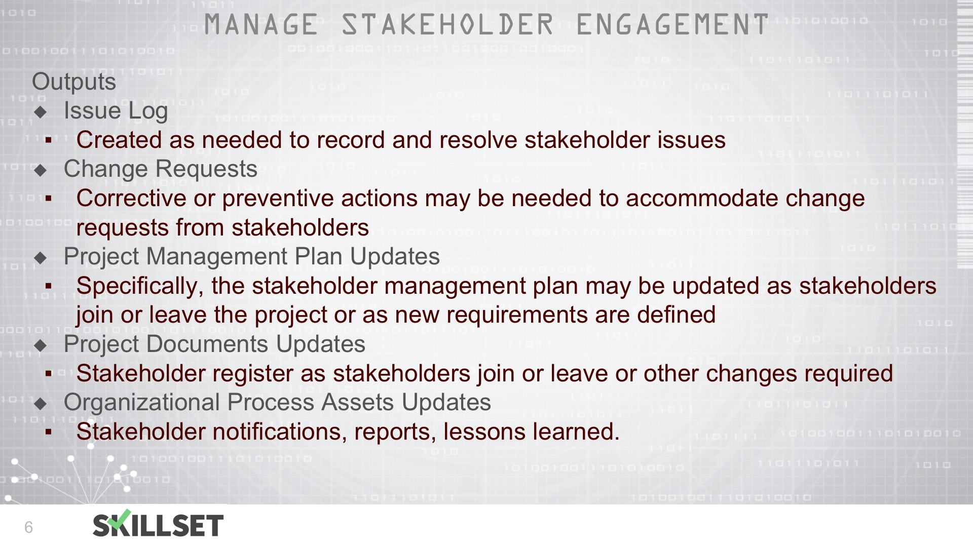 T103-Manage Stakeholder Engagement ITTOs