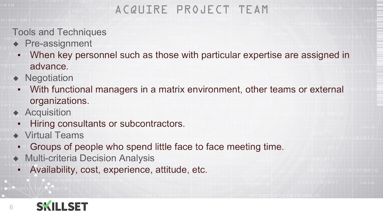 T72-Acquiring and Developing Project Teams ITTOs