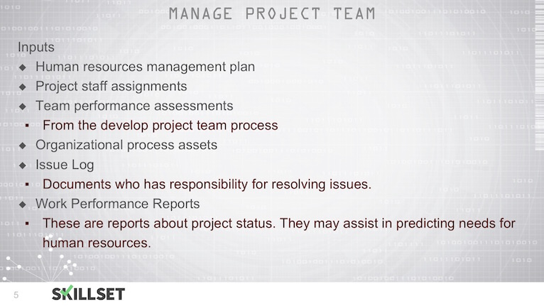 T76-Managing Project Teams ITTOs